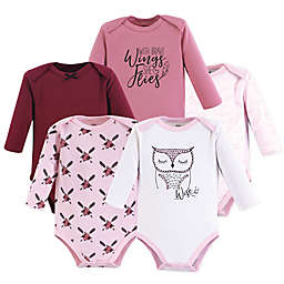 Yoga Sprout 5-Pack Owl Long Sleeve Bodysuits in Pink