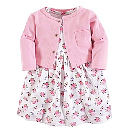 Luvable Friends® 2-Piece Allover Floral Print Dress and Cardigan Set in Pink