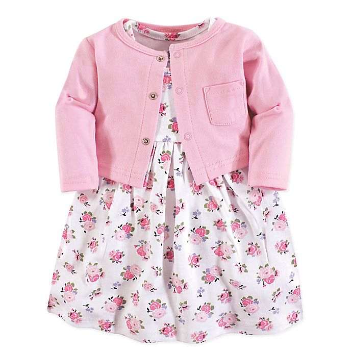 Alternate image 1 for Luvable Friends® 2-Piece Allover Floral Print Dress and Cardigan Set in Pink
