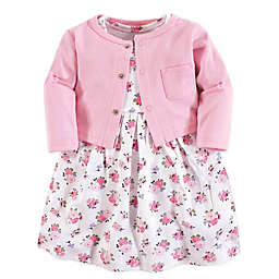 Luvable Friends® Size 3T 2-Piece Allover Floral Print Dress and Cardigan Set in Pink