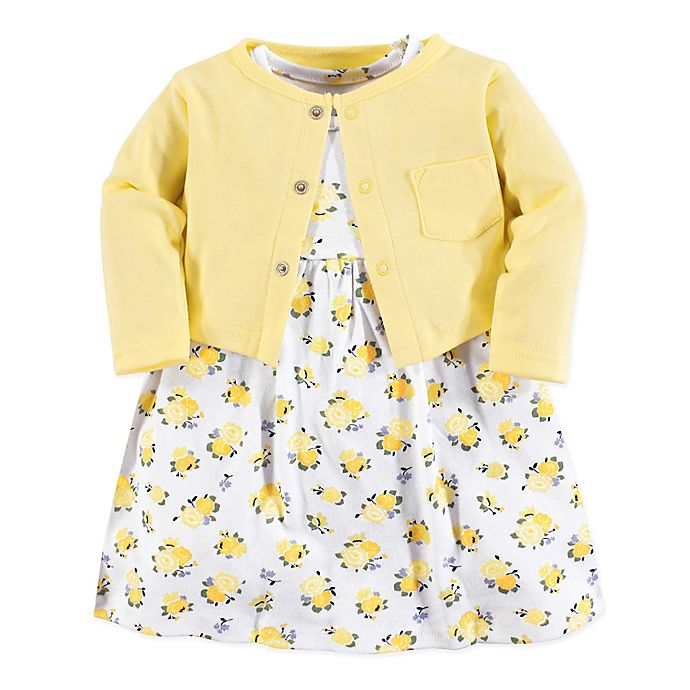 Alternate image 1 for Luvable Friends® 2-Piece Floral Dress and Cardigan Set in Yellow