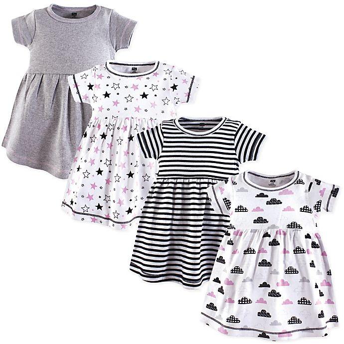 Alternate image 1 for Hudson Baby® Stars & Clouds 4-Pack Dresses