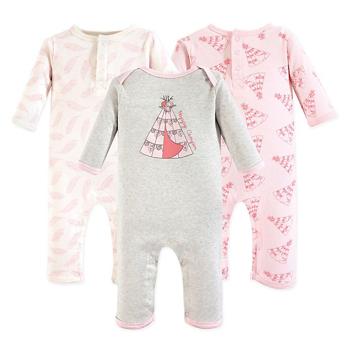Alternate image 1 for Yoga Sprout Size 3-6M 3-Pack Teepee Union Suits in Pink