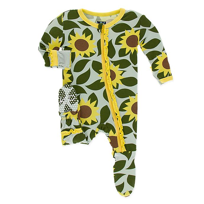 Alternate image 1 for KicKee Pants® Size 6-9M Sunflower Footie in Blue