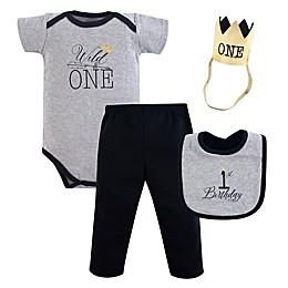 Hudson Baby® 4-Piece Wild One First Birthday Bodysuit, Pant, Bib, and Hat Set