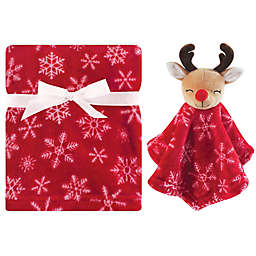 Hudson Baby® 2-Piece Reindeer Plush Blanket and Security Blanket Set in Red