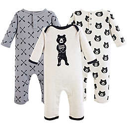 Yoga Sprout 3-Pack Bear Hugs Union Suit in Black