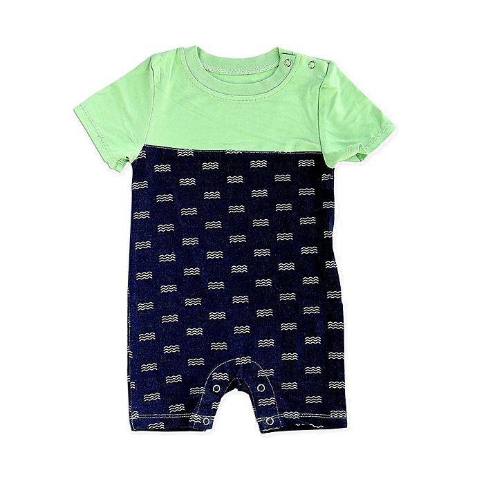 Alternate image 1 for Silkberry Baby® Waves Short Sleeve Romper in Navy/Mint