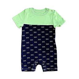 Silkberry Baby® Waves Short Sleeve Romper in Navy/Mint