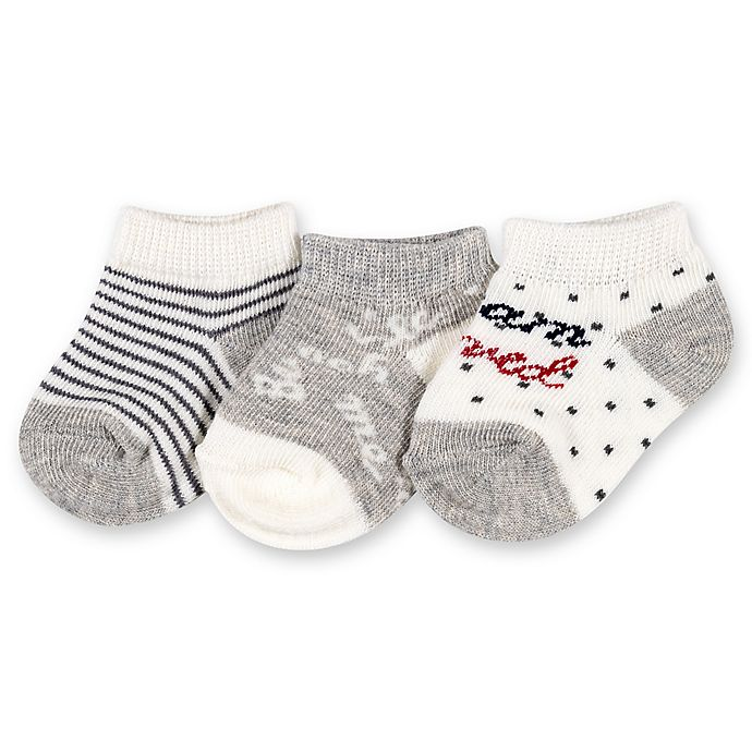 Alternate image 1 for Ellen DeGeneres™ 3-Pack Love Baby Socks in Grey