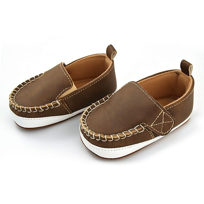 Alternate image 1 for Rising Star™ Size 6-9M Soft Sole Shoes in Brown