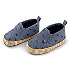 Rising Star™ Size 0-3M Chambray Whale Soft Sole Shoes in Blue
