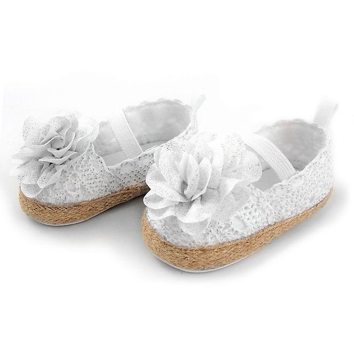 Alternate image 1 for Rising Star™ Size 6-9M Glitter Flower Espadrilles in White