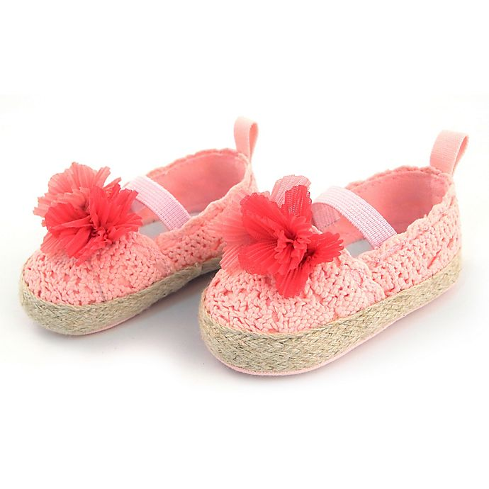 Alternate image 1 for Rising Star™ Size 9-12M Flower Espadrille in Coral