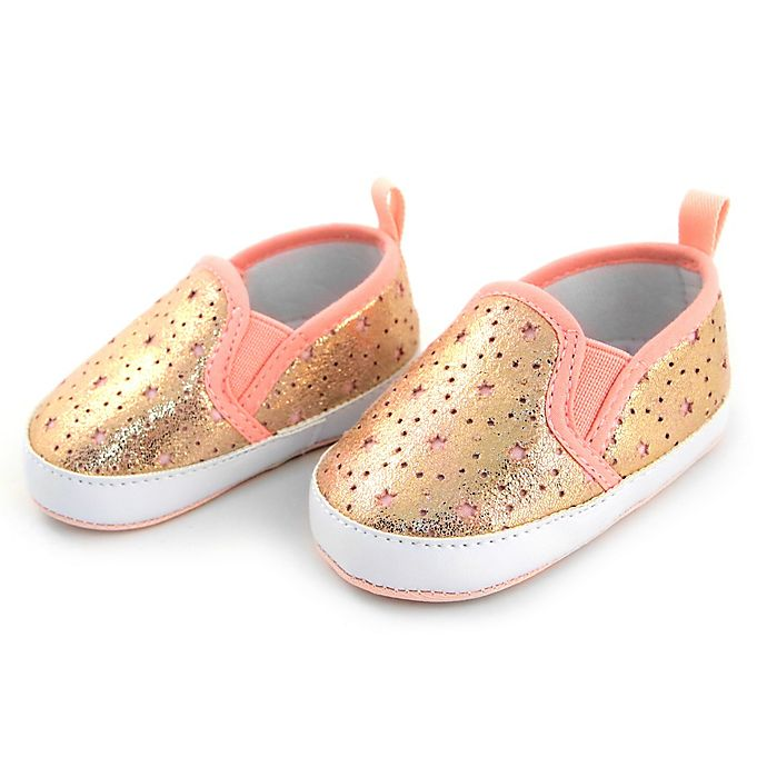 Alternate image 1 for Rising Star™ Size 9-12M Star Cutout Sneaker in Gold/Pink