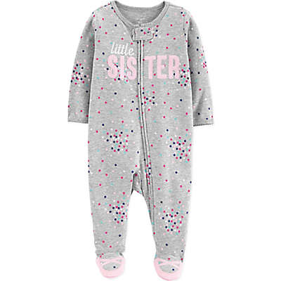 "carter's® ""Little Sister"" Sleep N' Play Footie in Grey"