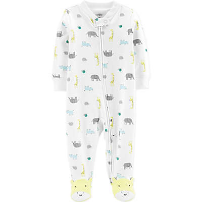 carter's® Zip-Front Safari Sleep & Play Footie in Ivory