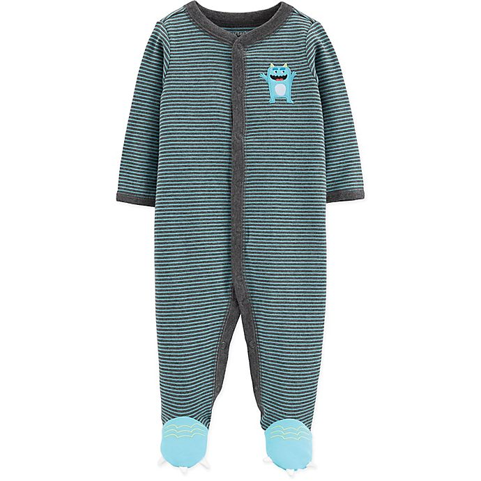 Alternate image 1 for carter's® Snap-Front Monster Sleep & Play Footie in Turquoise
