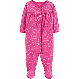 carter's® Heart Long Sleeve Footie in Pink