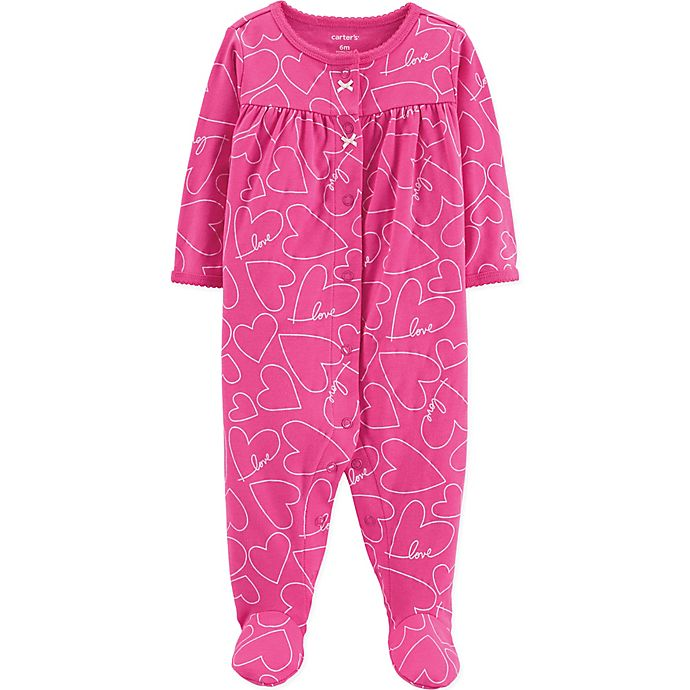Alternate image 1 for carter's® Heart Long Sleeve Footie in Pink