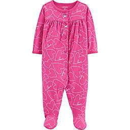 carter's® Heart Long Sleeve Footie in Pink