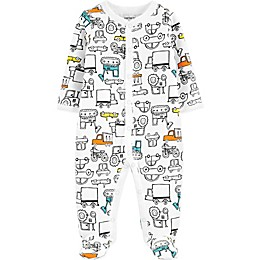 carter's® Trucks Footed Pajama in White
