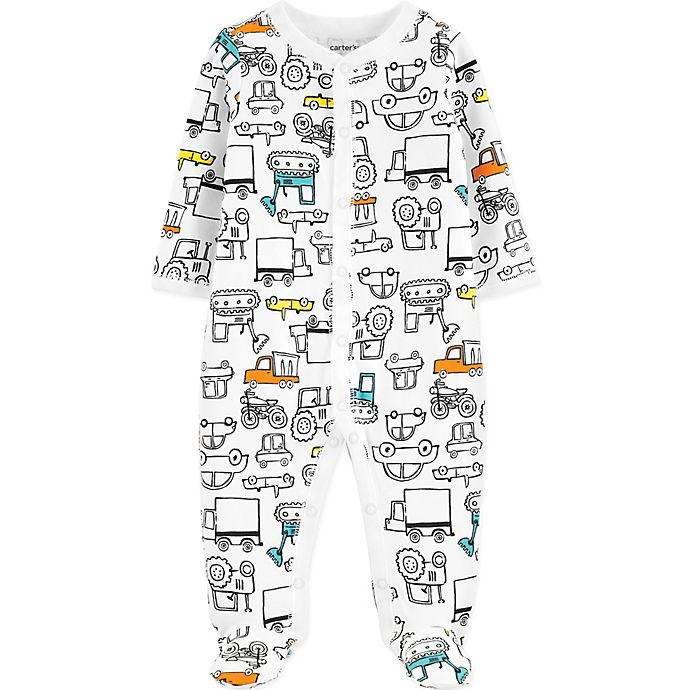 Alternate image 1 for carter's® Trucks Footed Pajama in White