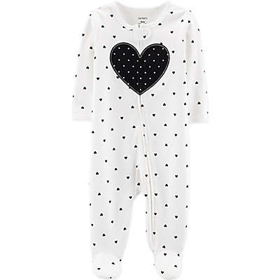 carter's® Heart Sleep N' Play Footie in Black/White
