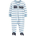 "carter's® Size 3M Zip-Front ""Little Brother"" Sleep & Play Footie in Blue"