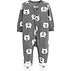 carter's® Size 6M Zip-Front Polar Bear Sleep & Play Footie in Heather Grey