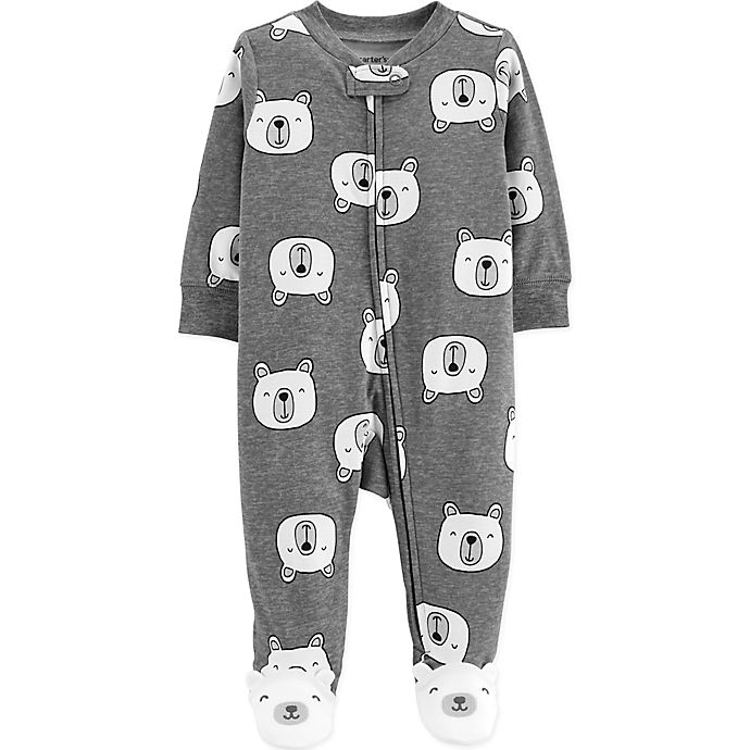 Alternate image 1 for carter's® Zip-Front Polar Bear Sleep & Play Footie in Heather Grey