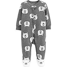 carter's® Size 3M Zip-Front Polar Bear Sleep & Play Footie in Heather Grey