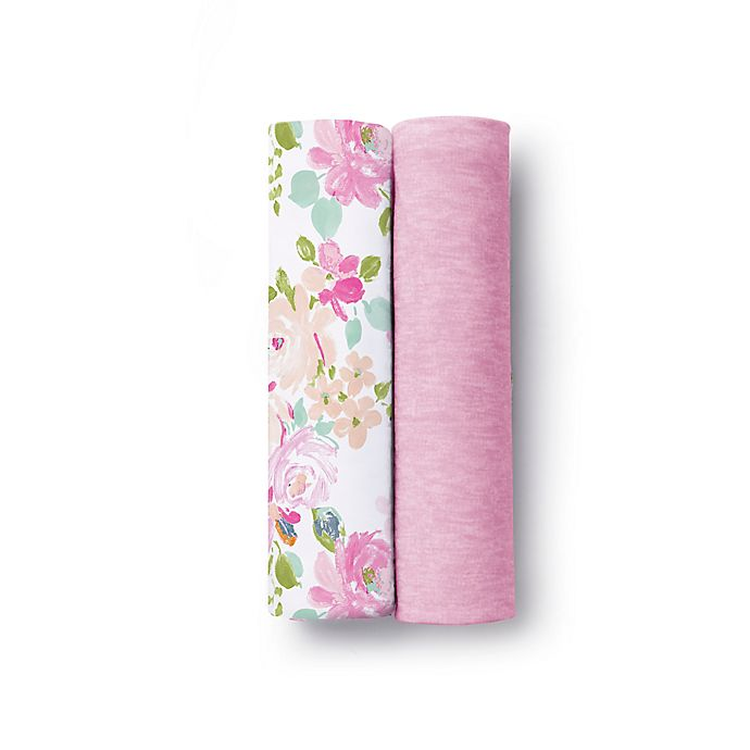 Alternate image 1 for BreathableBaby® Floral 2-Pack Active Swaddle Blankets in Pink
