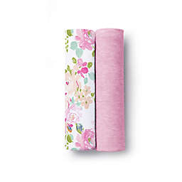 BreathableBaby® Floral 2-Pack Active Swaddle Blankets in Pink