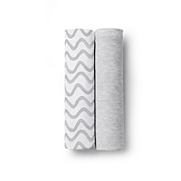 BreathableBaby® Wave 2-Pack Active Swaddle Blankets in Grey