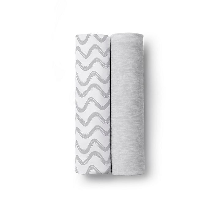 Alternate image 1 for BreathableBaby® Wave 2-Pack Active Swaddle Blankets in Grey