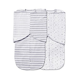 BreathableBaby® 2-Pack Swaddle Trio in Grey Star and Stripe