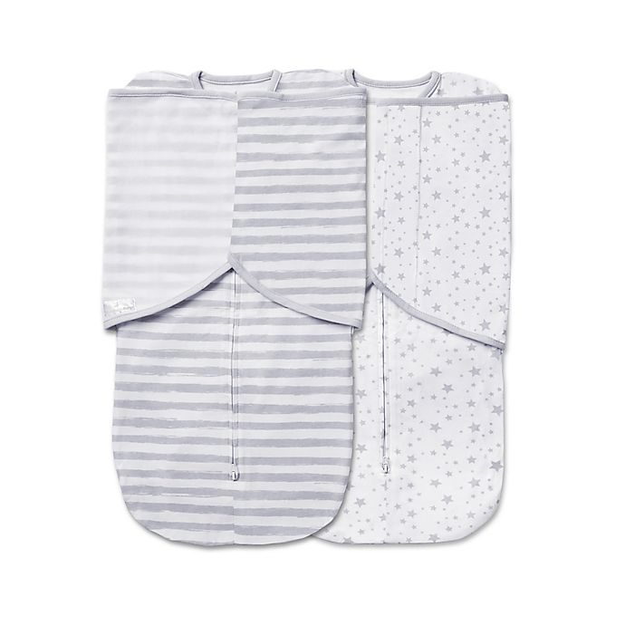 Alternate image 1 for BreathableBaby® 2-Pack Swaddle Trio in Grey Star and Stripe