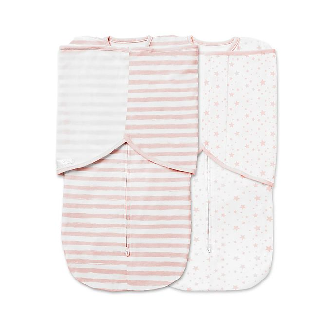 Alternate image 1 for BreathableBaby® 2-Pack Swaddle Trio in Pink Star and Stripe