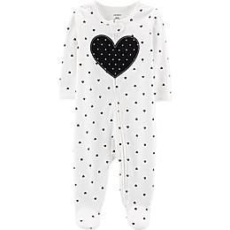 carter's® Zip-Front Heart Sleep & Play Footie in Black/White