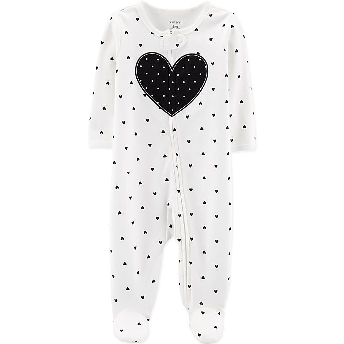 Alternate image 1 for carter's® Zip-Front Heart Sleep & Play Footie in Black/White