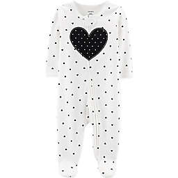 carter's® Zip-Front Heart Sleep & Play Footie in Black/White