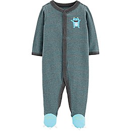 carter's® Preemie Snap-Front Monster Sleep & Play Footie in Turquoise