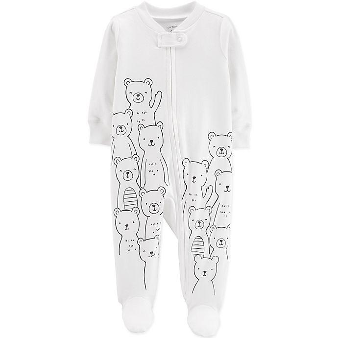 Alternate image 1 for carter's® Preemie Zip-Front Bear Sleep & Play Footie in Ivory