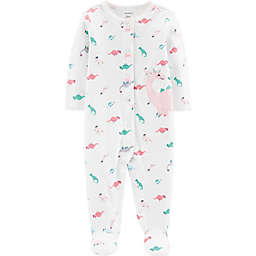 carter's® Snap-Front Dinos Sleep & Play Footie in Pink