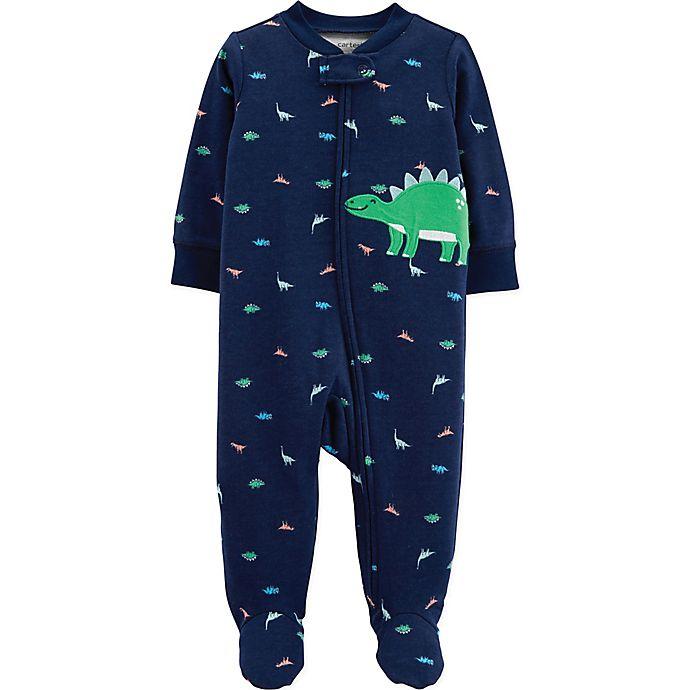 Alternate image 1 for carter's® Preemie Zip-Front Dinosaur Sleep & Play Footie in Navy