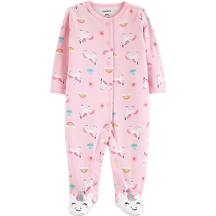 Alternate image 1 for carter's® Snap-Front Unicorn Sleep & Play Footie in Pink