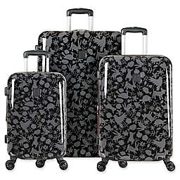 ED Ellen DeGeneres Laurel 3-Piece Hardside Spinner Luggage Set in Black/Grey
