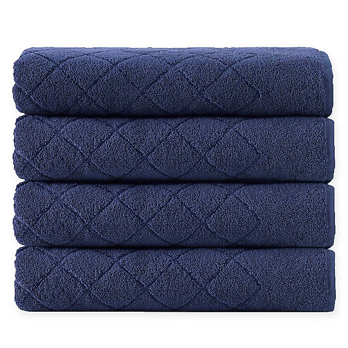 Alternate image 1 for Enchante Home® Gracious 4-Piece Turkish Cotton Towel Set in Navy