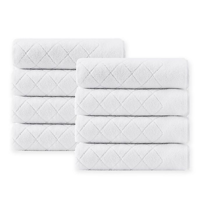 Alternate image 1 for Enchante Home® Gracious 8-Piece Turkish Cotton Hand Towel Set in White